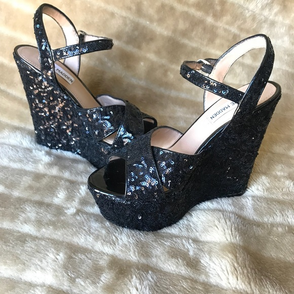 31aa2c59db7 Steve Madden Shoes - Steve Madden Westii Wedges Black Sequined